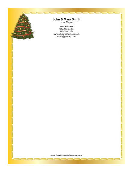 Christmas Tree Gold Border stationery design