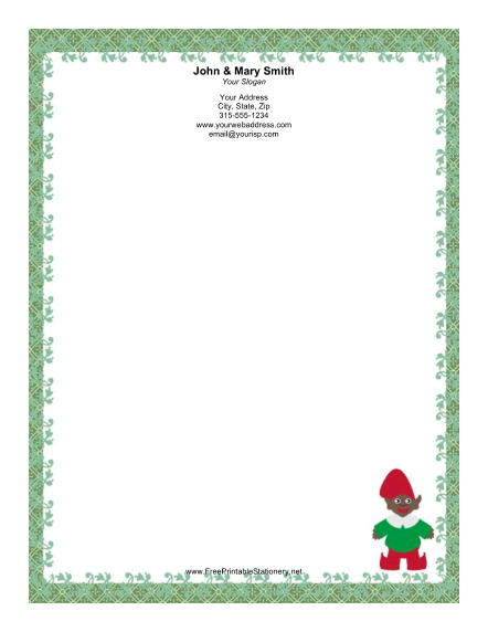Elf With Green Border Stationery
