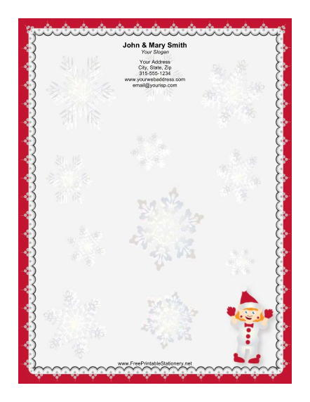 elf with santa hat stationery design an elf dressed in white with a ...