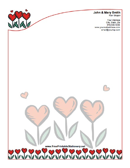 Whimsical Hearts stationery design