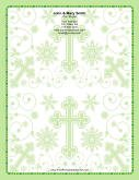 Different Sized Crosses Ornate Green Background